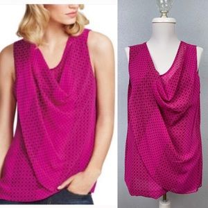 CAbi 983 Brilliant Blouse in patterned fuchsia